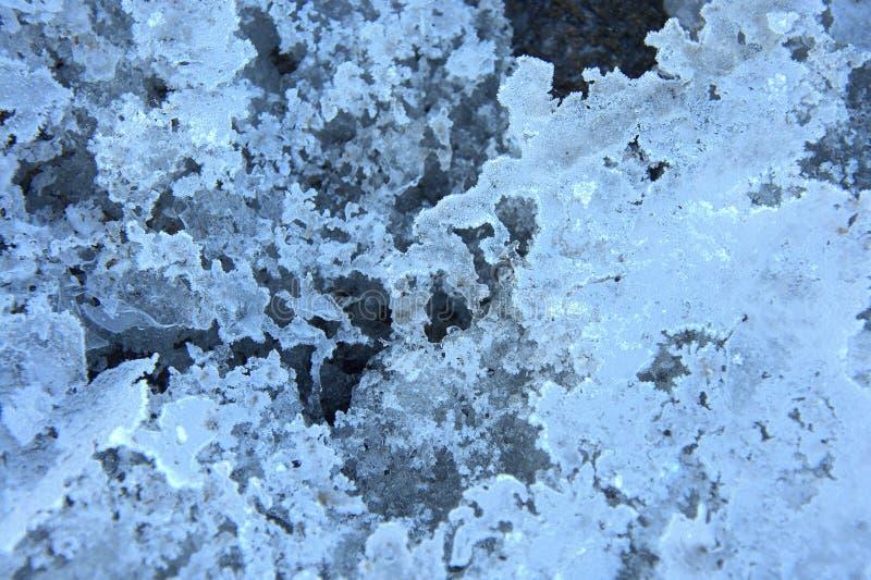 Smältt och bruten is Kort på öppet utrymme Bakgrund texturerar Närbild royaltyfri foto