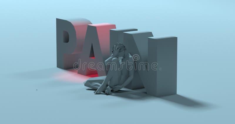 Smärta - 3d framför texttecknet, nära ledsen stressad man, illustrationen royaltyfri illustrationer