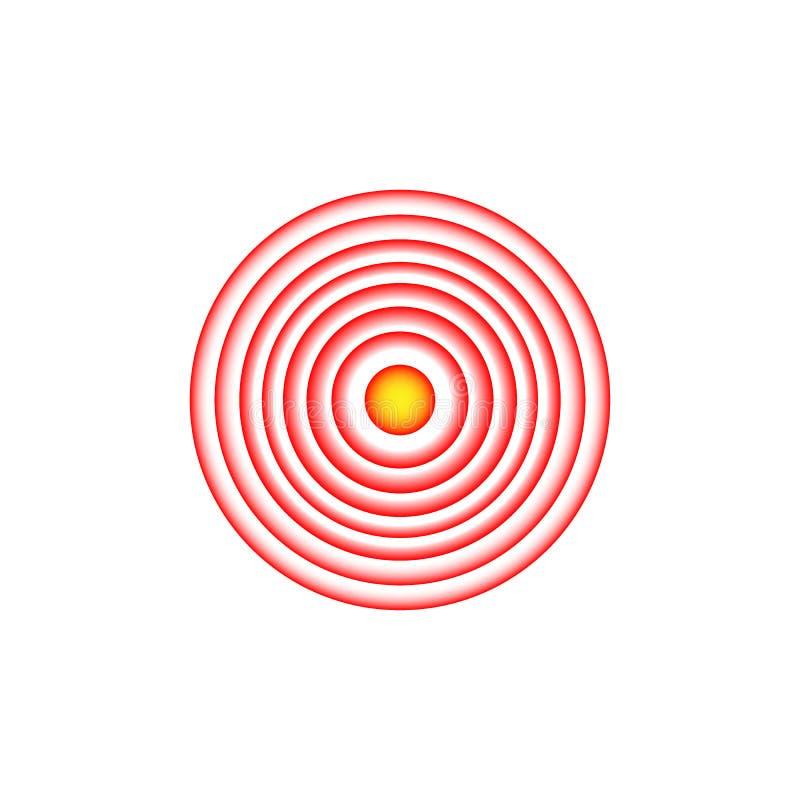 Smärta den röda cirkeln, eller lokaliseringfläcken som gör ont ställetecknet, det abstrakta symbolet av, smärtar, den öm fläcken  vektor illustrationer
