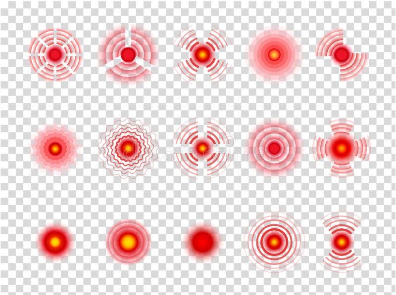 Smärta den röda cirkeln Smärtsamma fläckar som pekar medicinsk muskulös koncentration på genomskinlig bakgrund gears symbolen vektor illustrationer