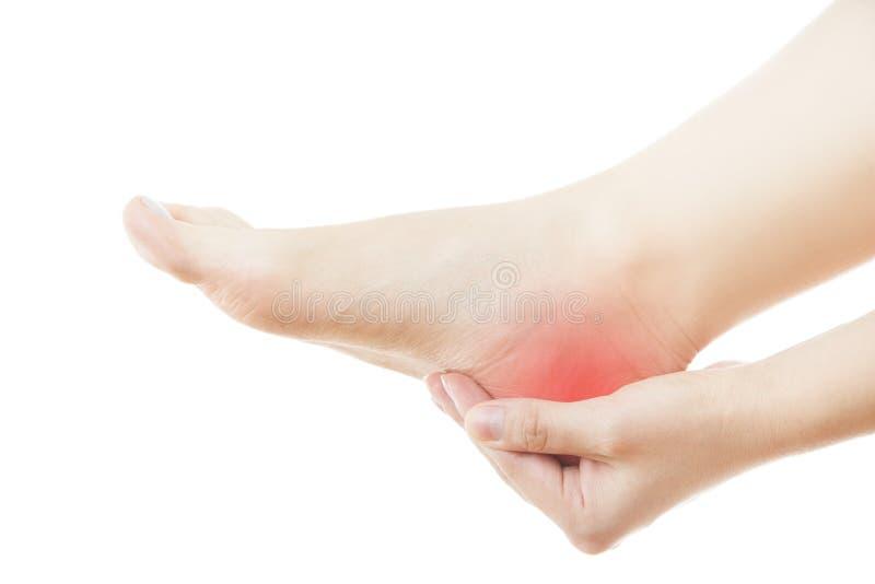 Smärta i den kvinnliga foten royaltyfri bild