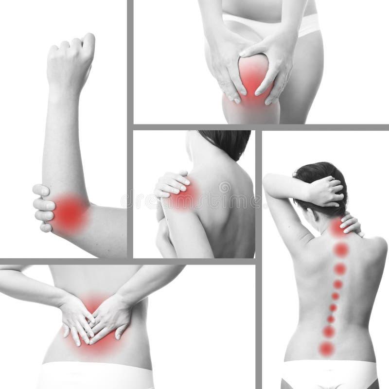 Smärta i en kvinnas kropp royaltyfria bilder