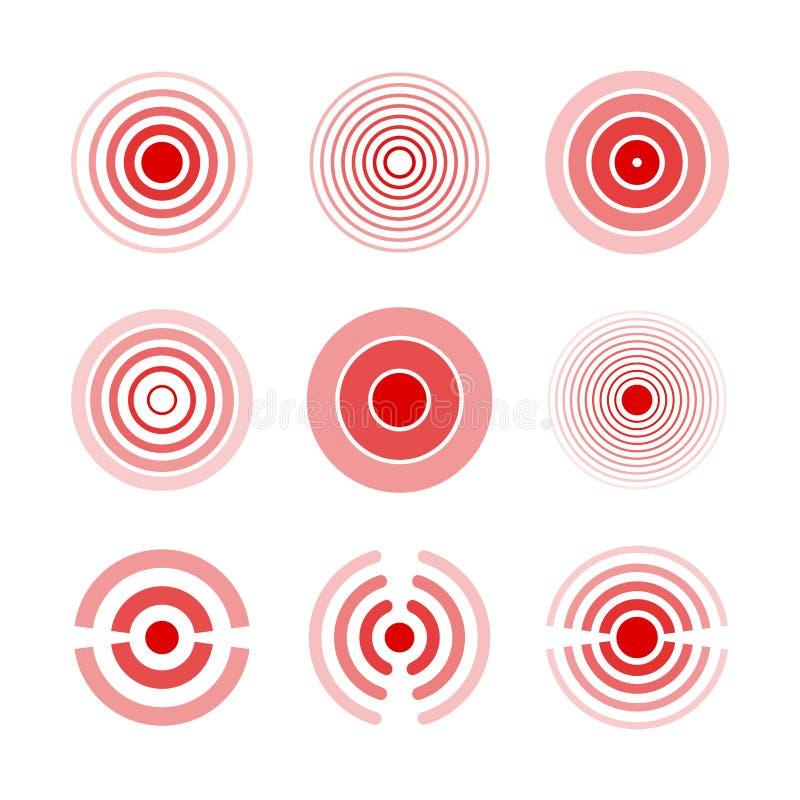 Smärta röda cirklar för att markera den smärtsamma kvinnan, och mankroppsdelar, hånglar, ben, muskeln och huvudvärken Medicinsk v stock illustrationer