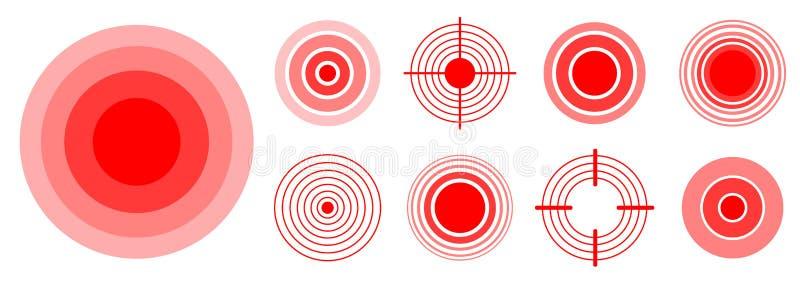 Smärta röda cirklar för att markera den smärtsamma kvinnan, och mankroppsdelar, hånglar, ben, muskeln och huvudvärken Medicinsk v vektor illustrationer