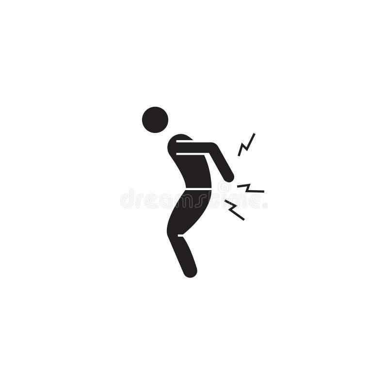 Smärta tillbaka den svarta vektorbegreppssymbolen Smärta tillbaka den plana illustrationen, tecken stock illustrationer