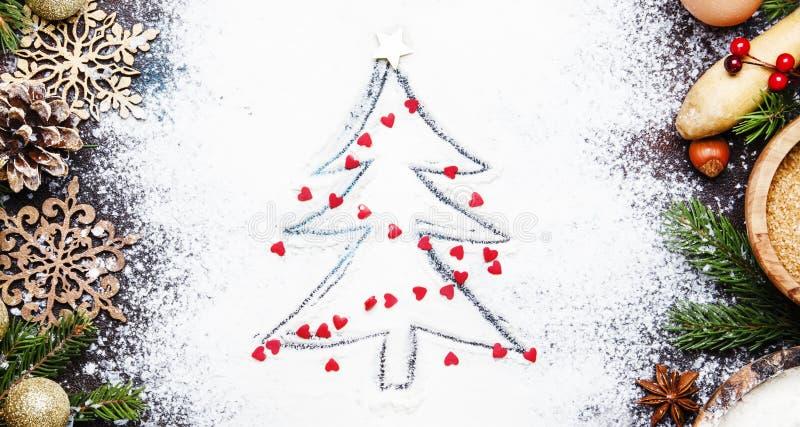 Smärtar stekhet bakgrund för jul eller för det nya året med julgranen royaltyfri fotografi