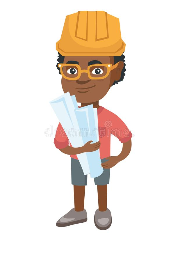 Små afrikanska plan för papper för teknikerpojkeinnehav vektor illustrationer