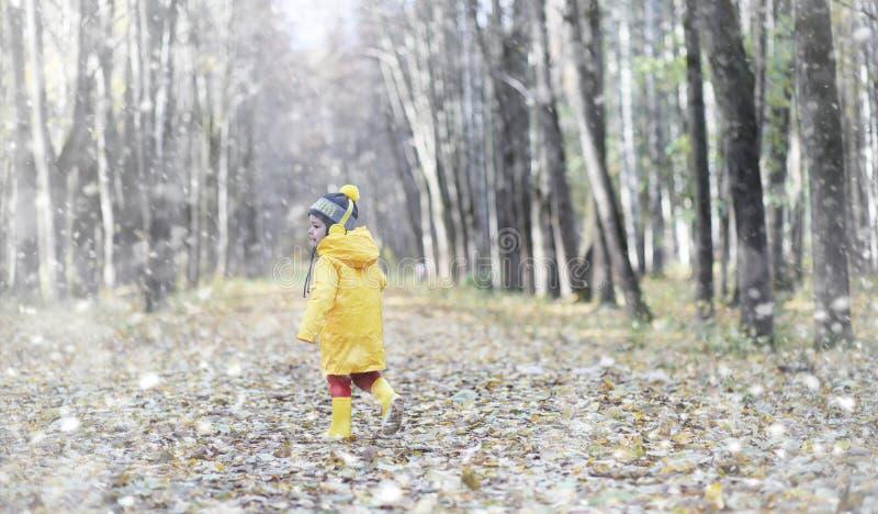 Små barn på en gå i hösten parkerar Första frost och första arkivfoton