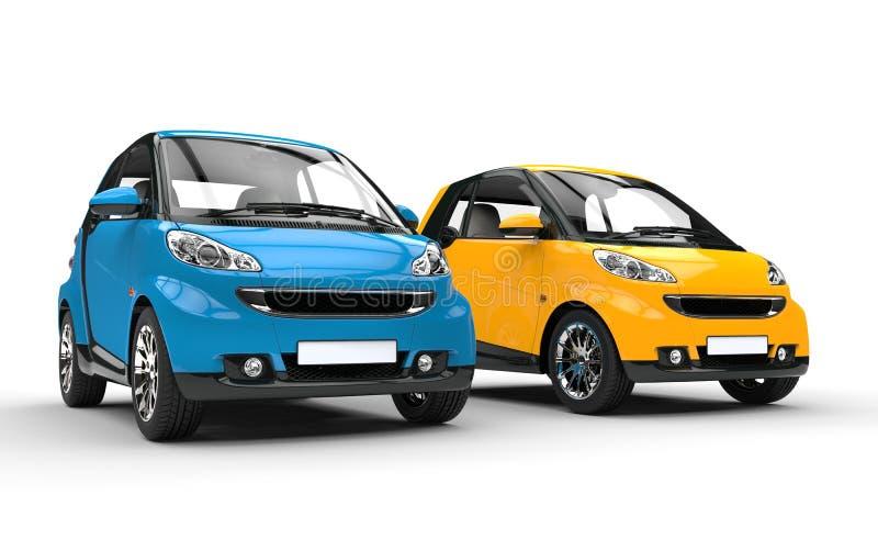 Små bilar för blått och för guling royaltyfri illustrationer