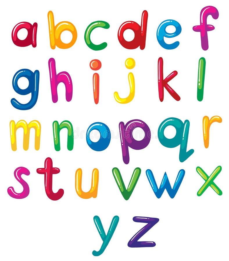 Små bokstäver av alfabetet vektor illustrationer