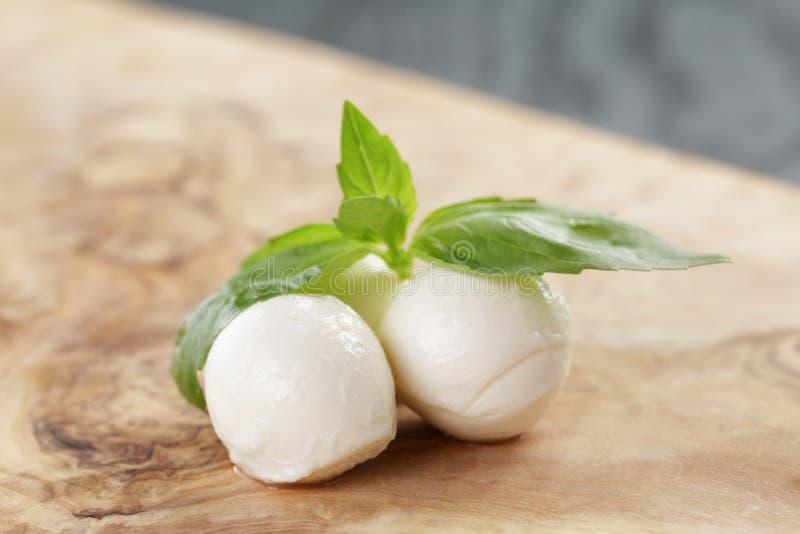 Små bollar av mozzarellaen med basilikasidor royaltyfria foton