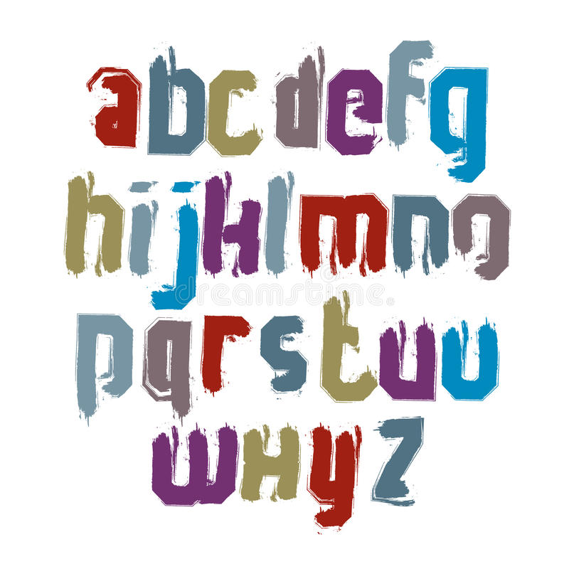 Små calligraphic bokstäver som dras med färgpulver, borstar, färgrik ve stock illustrationer