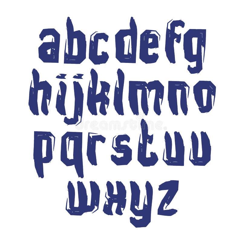 Små calligraphic bokstäver som dras med färgpulver, borstar, monokrom stock illustrationer