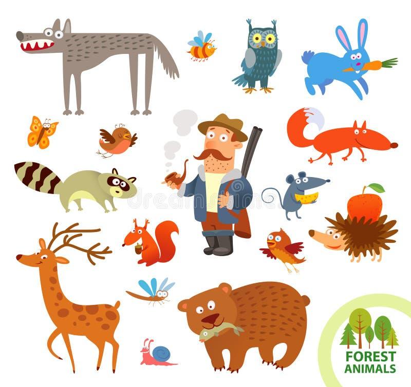 Små djur för fastställd rolig skog huvudet för uppnosiga gulliga hundar för bakgrundstecknad filmteckenet isolerade det lyckliga  royaltyfri illustrationer