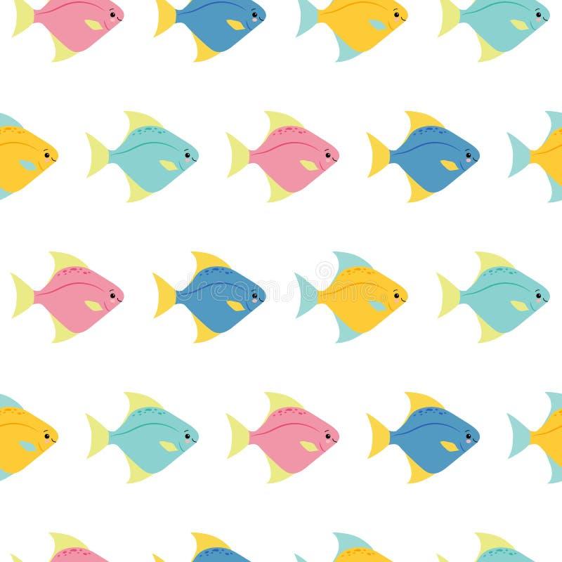 Små färgrika fiskar på vit bakgrund Sömlös modell för abstrakt vektor i plan stil stock illustrationer