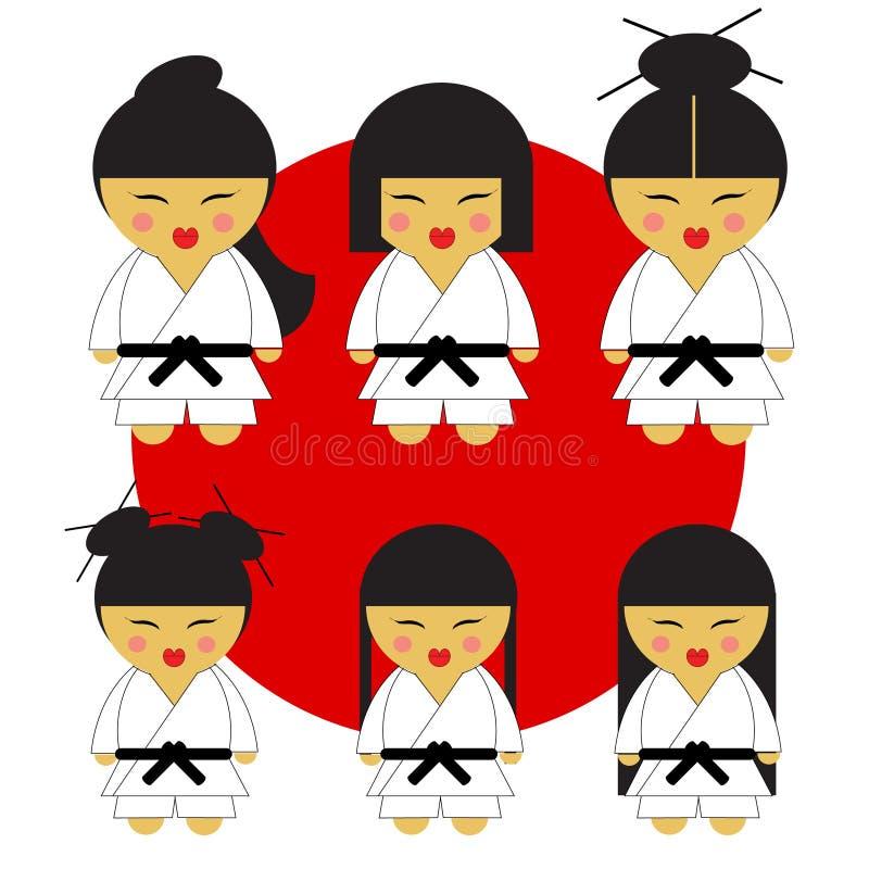 Små flickor för karate för japan för karateflicka sex gulliga i deras kimonon på röd flagga med sex olika hårstilar vektor illustrationer