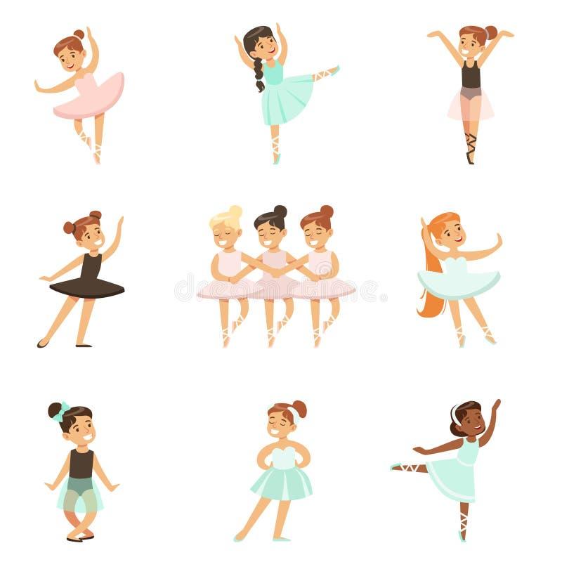 Små flickor som dansar balett i klassisk dansgrupp, framtida yrkesmässiga ballerinadansare royaltyfri illustrationer