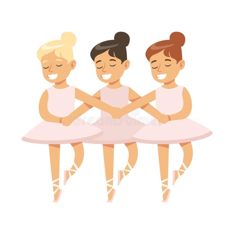 Små flickor som dansar svan sjöbalett i klassisk dansgrupp, framtida yrkesmässig ballerinadansare stock illustrationer