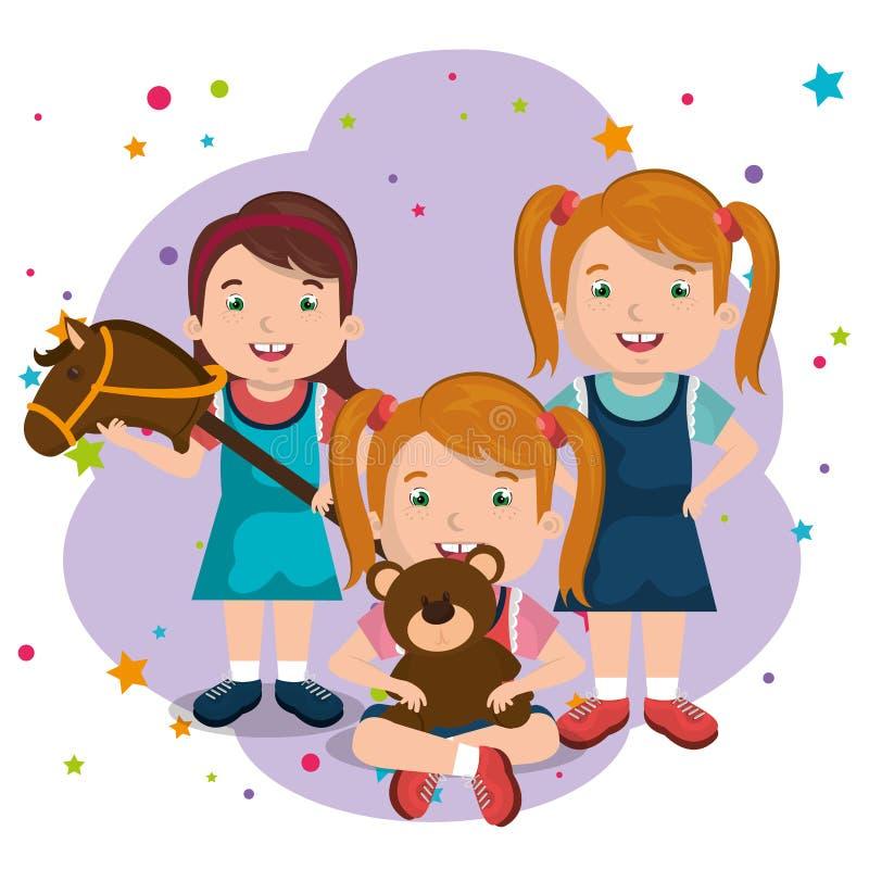 Små flickor som spelar med leksaktecken royaltyfri illustrationer