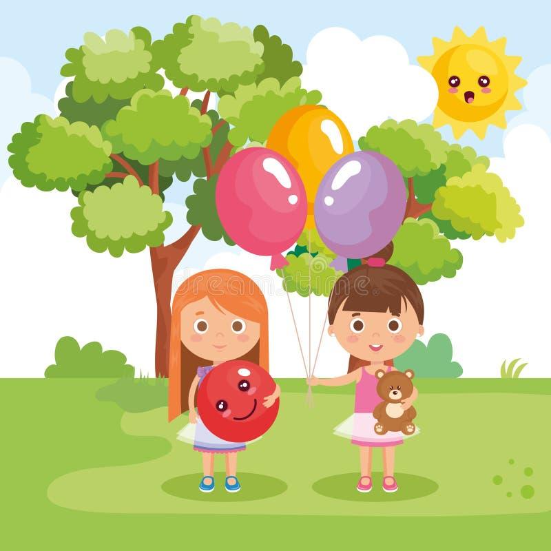 Små flickor som spelar på parkera stock illustrationer