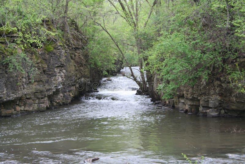 Små forsar som floden flödar till och med en kanjon royaltyfri foto