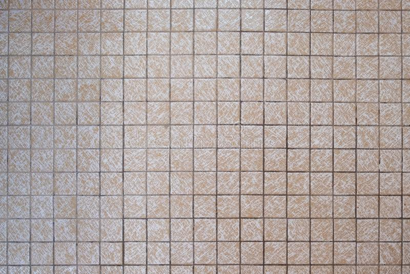 små fyrkantiga beigea badrumtegelplattor för 70-tal royaltyfria foton