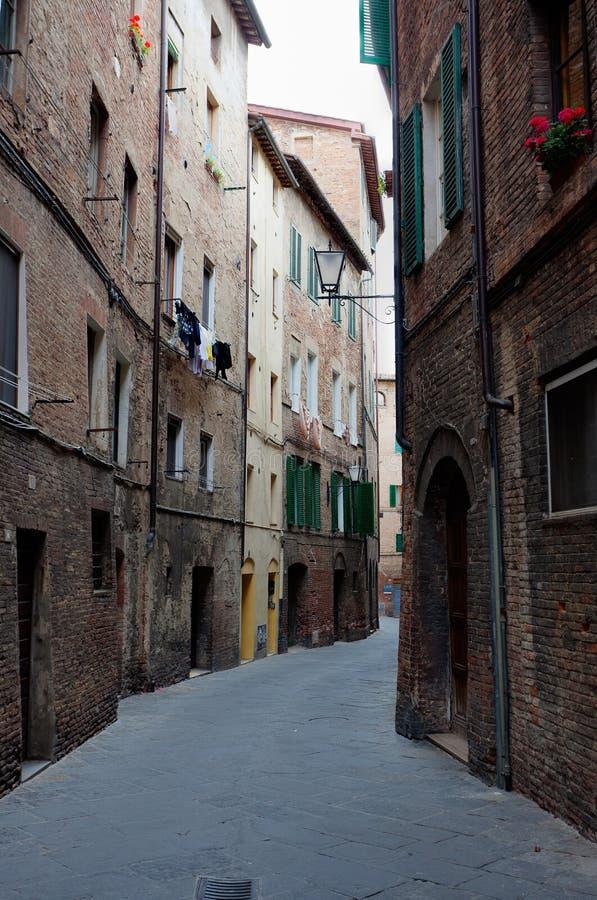 Små gatahus Siena, Tuscany, Italien royaltyfria bilder
