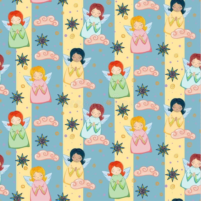 Små gulliga änglar royaltyfri illustrationer