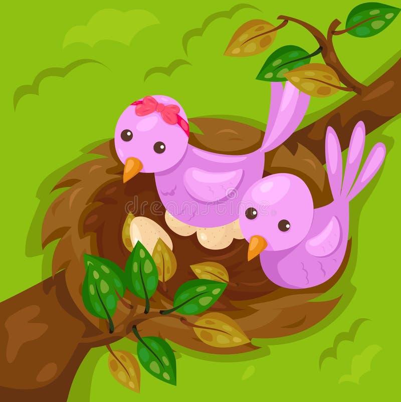 Små gulliga fåglar med redet på filialen stock illustrationer