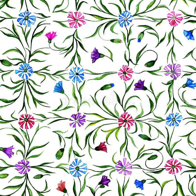 Små härliga blommor med sidor på vit bakgrund Ljusa blåklinter i sömlös modell för kontroll för Adobekorrigeringar hög för målnin royaltyfri illustrationer