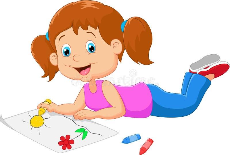 Små härliga flickamålarfärger för tecknad film på papper royaltyfri illustrationer
