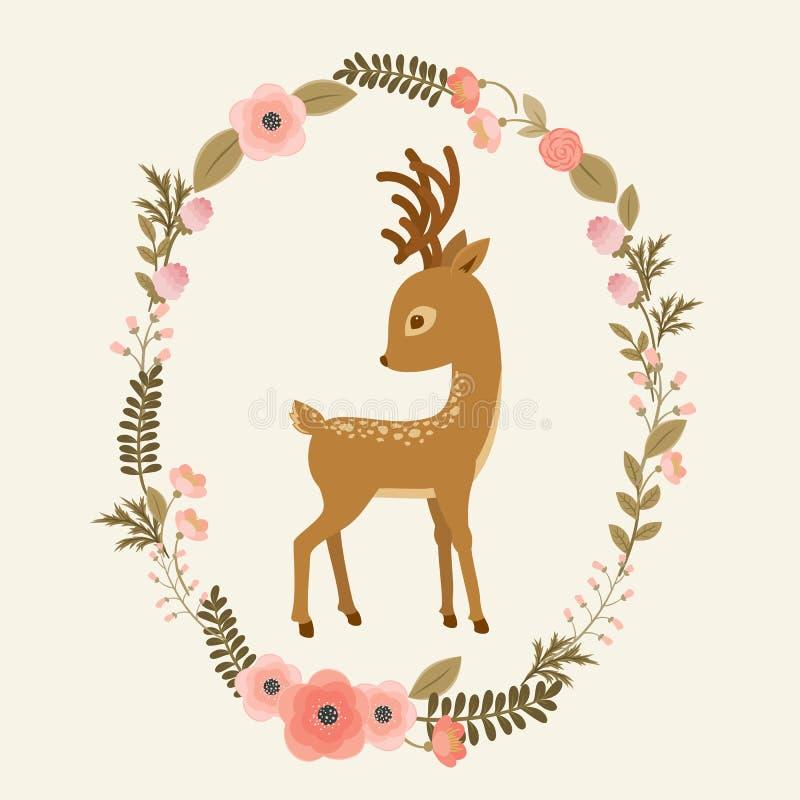 Små hjortar i en blom- krans vektor illustrationer