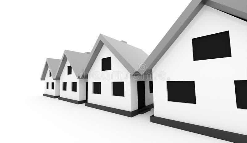 Små hus med silvertaket på en vit bakgrund vektor illustrationer