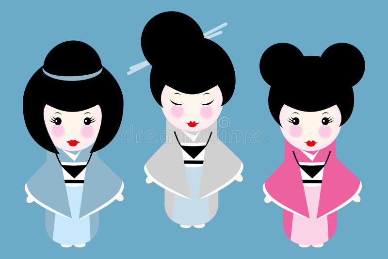 Små Japan dockor med olika frisyrer som isoleras på blått stock illustrationer