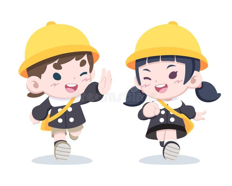 Små japanska barn i enhetlig illustration för dagis vektor illustrationer