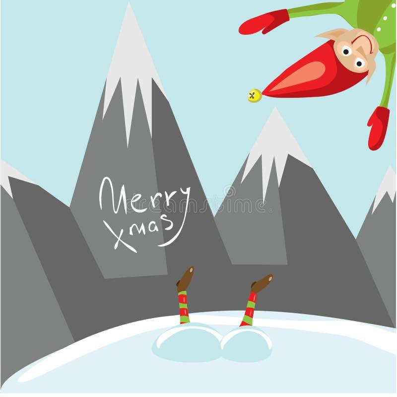 Små jultomtenhjälpredor önskar dig glad jul Vektor illustrerat hälsningkort vektor illustrationer