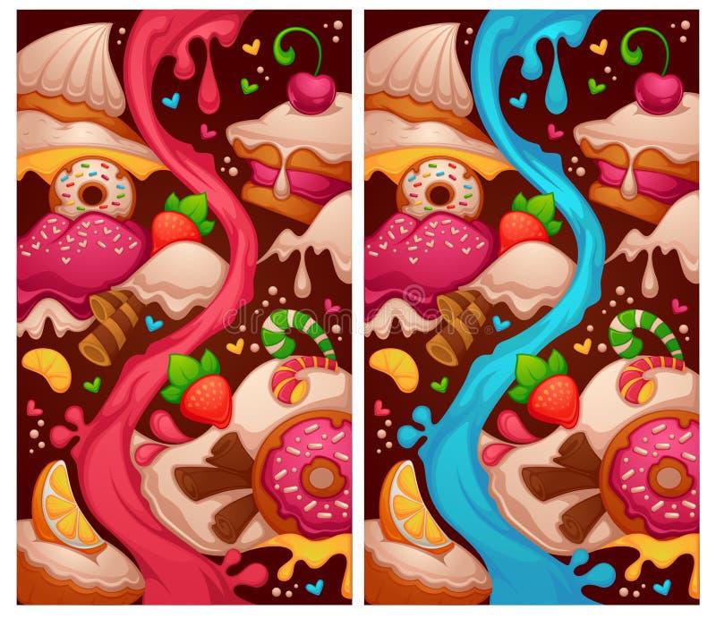 Små kakor shoppar, två variationer av den jämna översikten vektor illustrationer