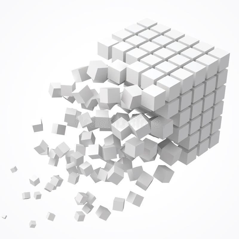 Små kuber som bildar en stor kub blockchain och stor datacncept vektorillustration för stil 3d royaltyfri illustrationer