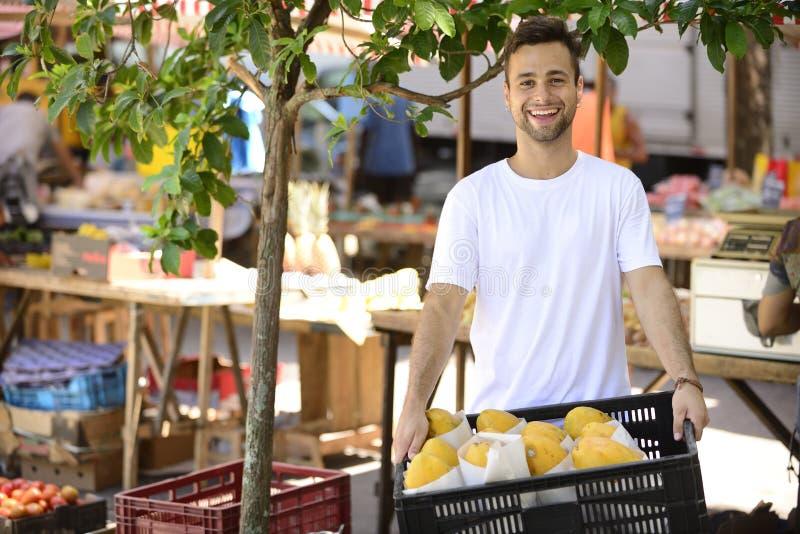 Små och medelstora företagägare som säljer organiska frukter. arkivbild