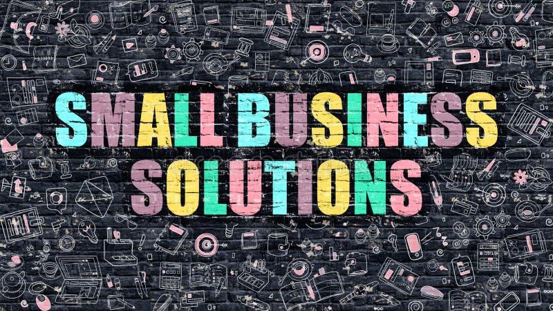 Små och medelstora företaglösningsbegrepp med klotterdesignsymboler vektor illustrationer