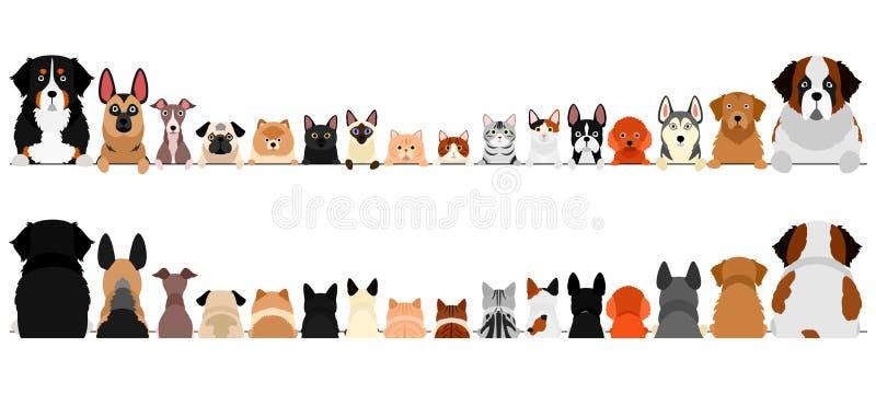 Små och stora hundar och katter, övre del av kroppen, fram och bak vektor illustrationer