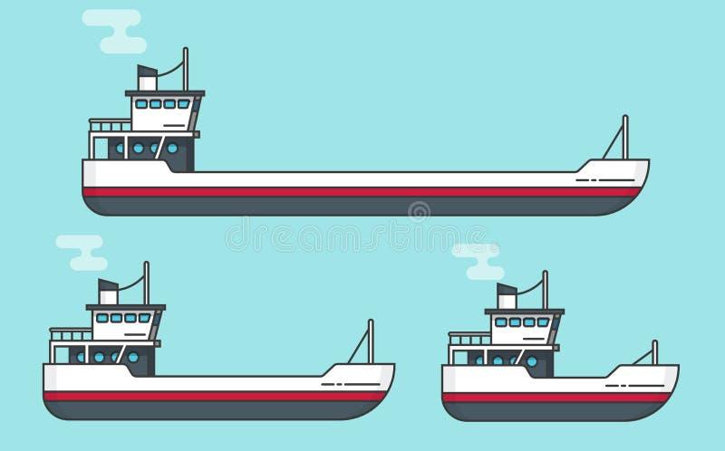 Små och stora transportskepp sänker tecknad filmlinjen översikten, uppsättning för fartygvektorillustration, tom fraktskyttel och royaltyfri illustrationer