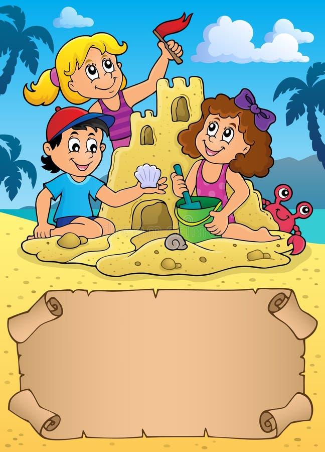 Små pergament och ungar vid sandslotten vektor illustrationer