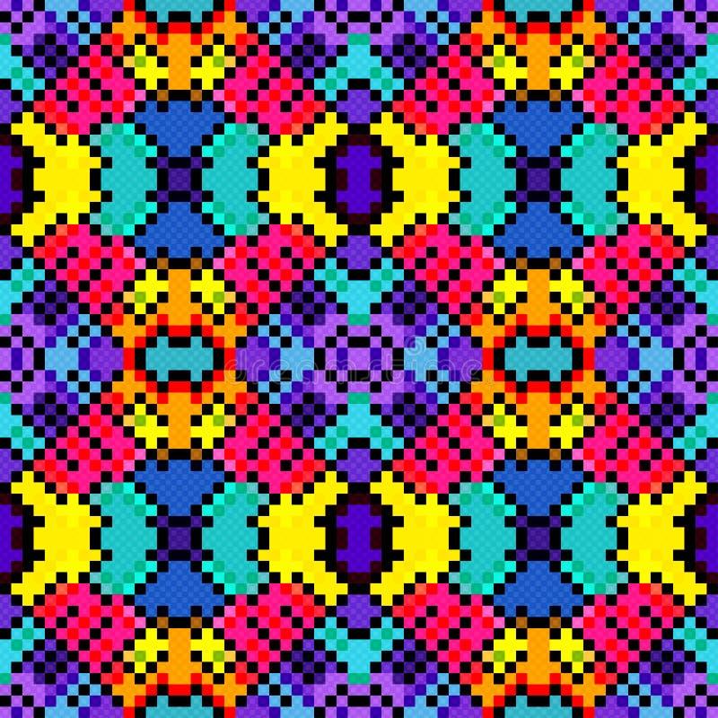 Små PIXEL färgade för modellvektorn för geometrisk bakgrund den sömlösa illustrationen vektor illustrationer
