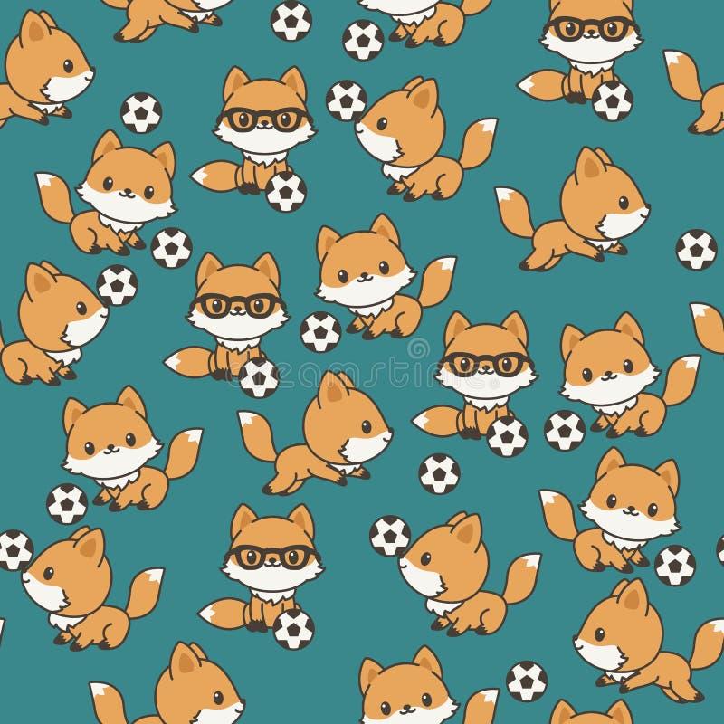 Små rävar som spelar den sömlösa modellen för fotboll stock illustrationer