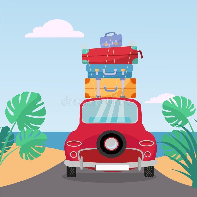 Små röda retro bilritter till havet med bunten av resväskor på taket Plan tecknad filmvektorillustration Bilbaksidasikt med högen royaltyfri illustrationer