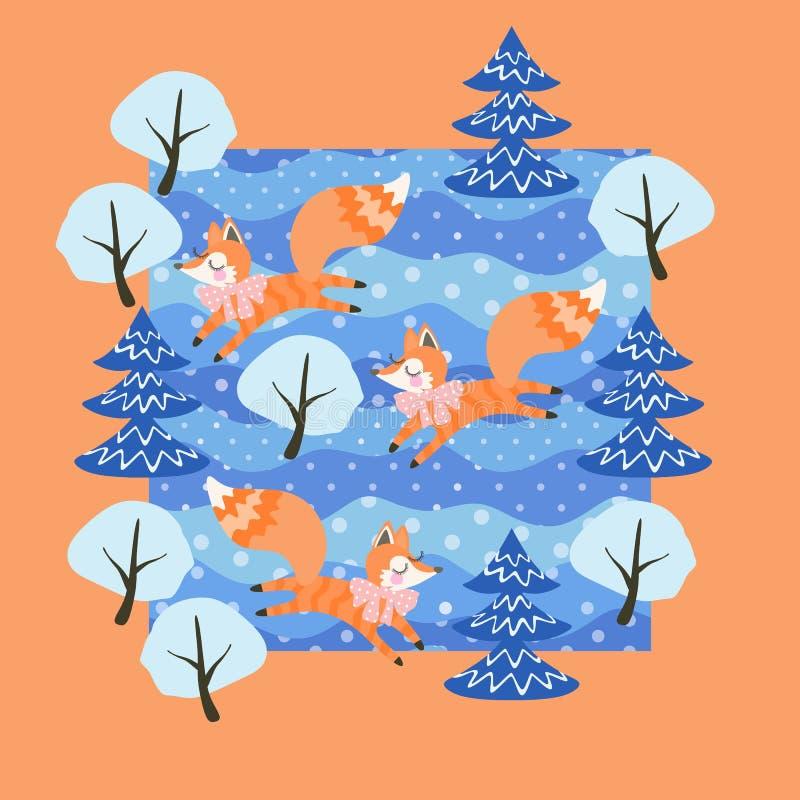 Små roliga rävar stojar i blandad vinterskog bland detäckte träden Gullig kortdesign i vektor stock illustrationer