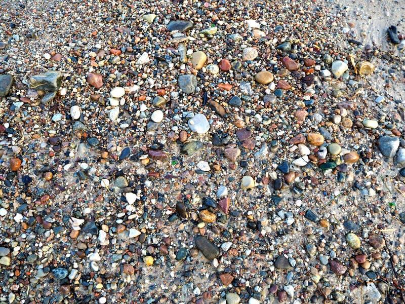 Små stenar på kusten royaltyfria bilder