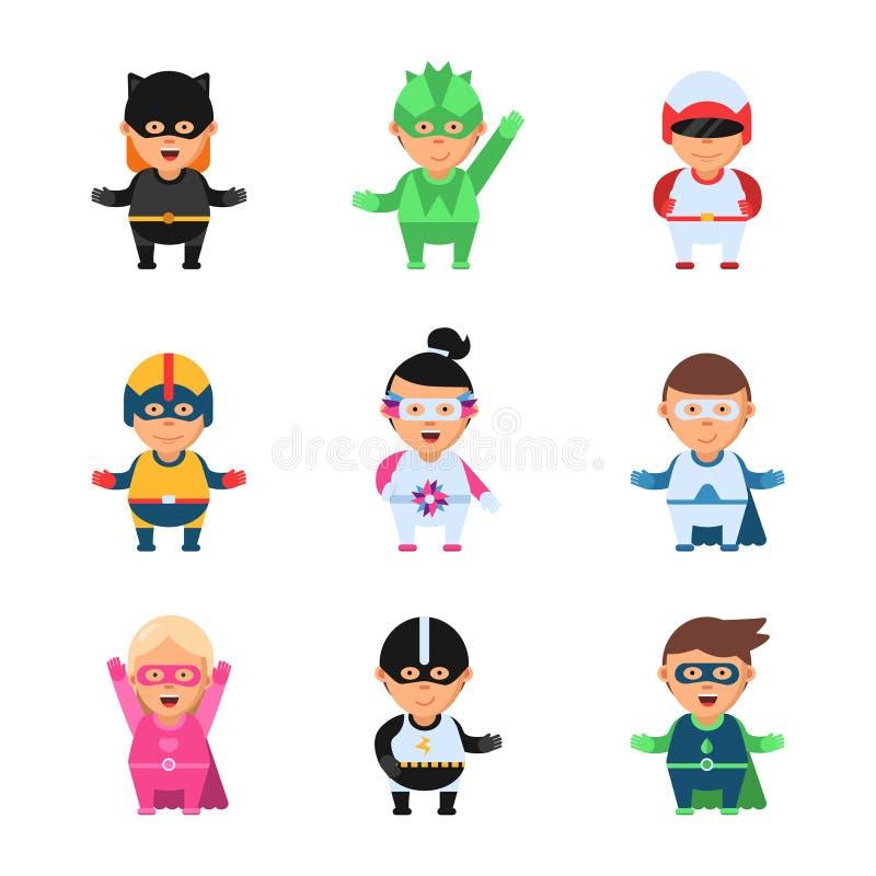 Små Superheroes Diagram för den komiska tecknade filmen för hjälten spelar 2d av ungar i kulör maskering isolerade tecken för lek vektor illustrationer