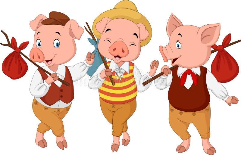 Små svin för tecknad film tre royaltyfri illustrationer